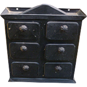 Diminutive Primitive Painted Spice Chest
