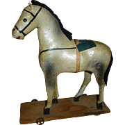 German Paper Mache Horse On Wheeled Platform