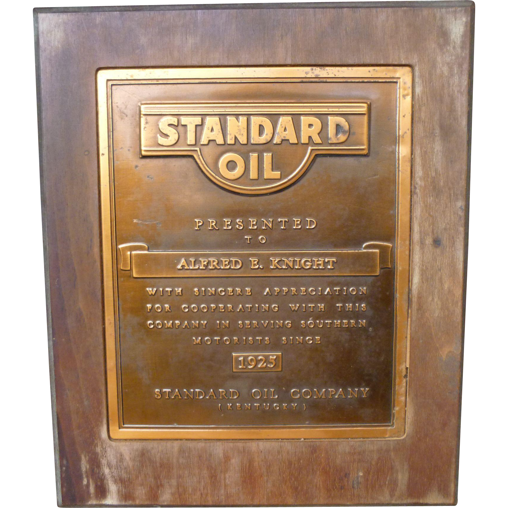 1925 Standard Oil Copper Plaque In Wooden Frame