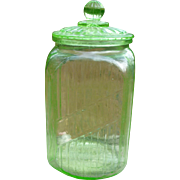 Vaseline Glass Lidded Hoosier Jar