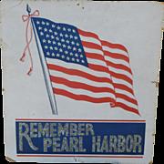 Remember Pearl Harbor Window Card