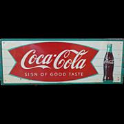 Coca Cola Fishtail Tin Advertising Sign