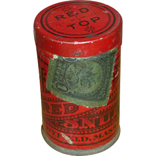 Vintage Red Top Snuff Advertising Tin
