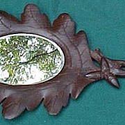 Lovely And Unusual Black Forest Carved Hand Mirror
