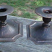 Pair Roycroft Hammered Copper Candle Holders