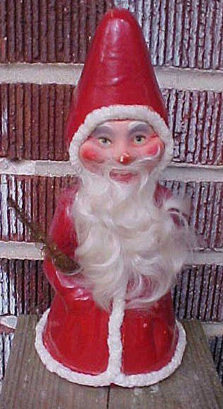 Wonderful German Christmas Santa Paper Mache Candy Container