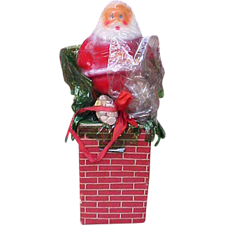 Vintage Santa On Chimney Candy Container NOS