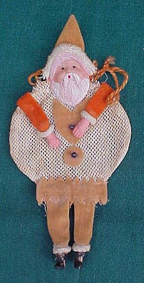 Celluloid Santa W/Net Body Christmas Candy Container
