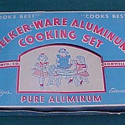 Unused Vintage Child Doll Welker Ware Aluminum Cooking Set In Box