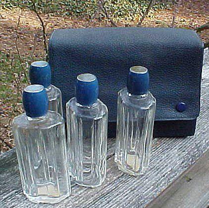 Blue Enamel Top French Perfume Bottles In Original Case