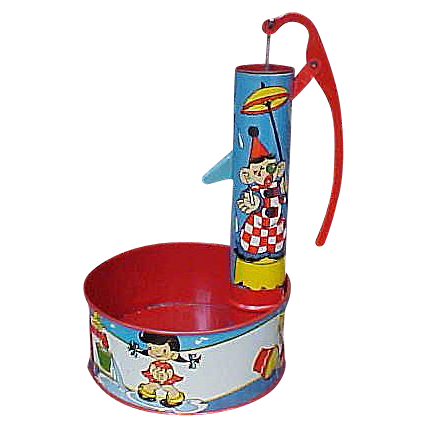 Pristine Ohio Art Tin Litho Water Pump Sand Toy