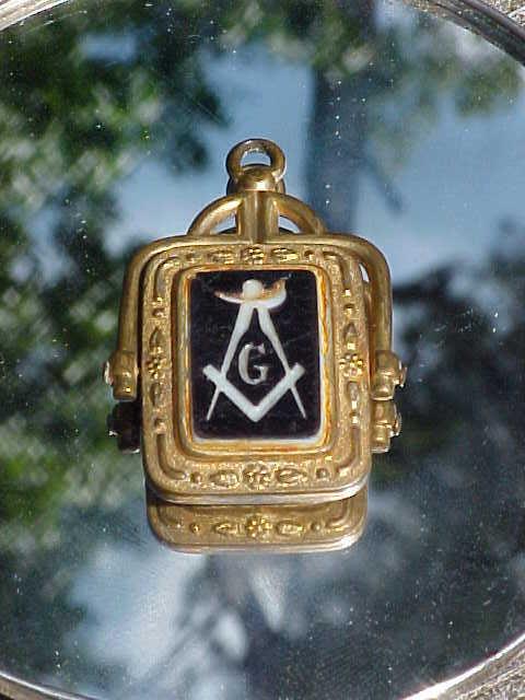 Exceptional Victorian Swivel Fob W/Enamel Mason's Insignia