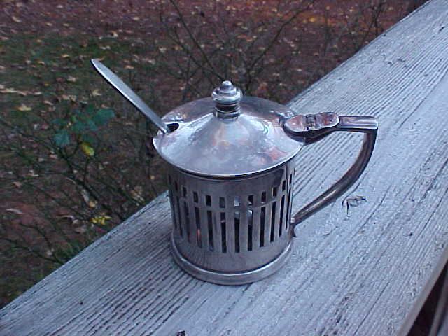 Union Pacific Railroad Silver Soldered Mustard Pot W/Original Spoon