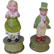 Pair Of Exceptional German Paper Mache St. Patrick's Day Candy Containers