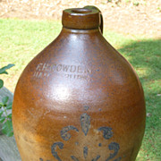 F H Cowden Stoneware Jug With Cobalt Decoration