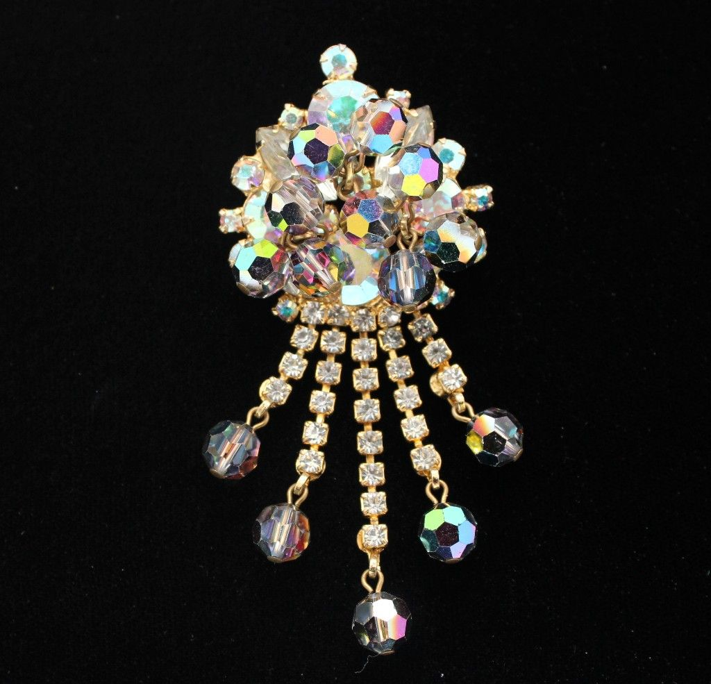 Juliana DeLizza & Elster Crystal Dangle Brooch