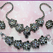 Juliana DeLizza & Elster Faux-Black-Diamond and Aurora Borealis Parure
