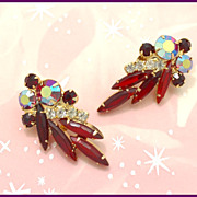Juliana Siam Red Clip Earrings
