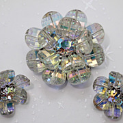 Vendome Swarovski Pagoda Crystal Flower Petal Brooch Earrings Demi Parure
