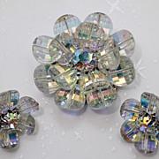 Vendome Swarovski Pagoda Crystal Flower Petal Brooch Earrings Demi Parure