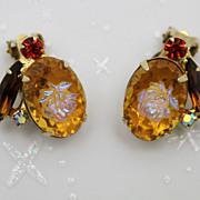 Juliana DeLizza & Elster Topaz Rose Cameo Clip Earrings