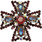 Juliana DeLizza & Elster Watermelon Gunmetal Maltese Cross Brooch