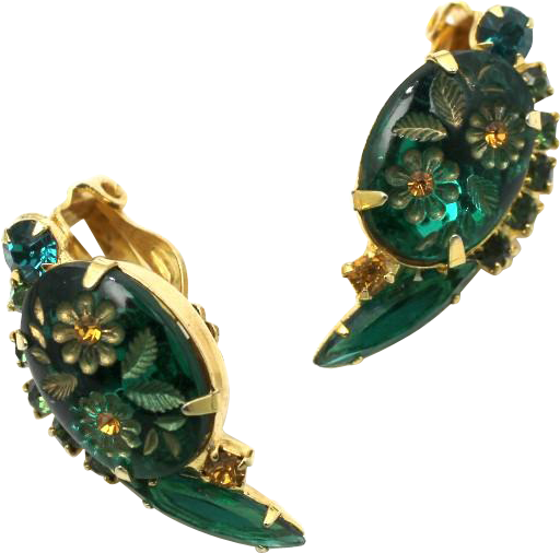 Juiana DeLizza & Elster Green Etched Flower Earrings
