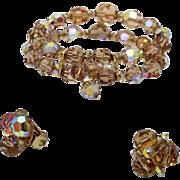 Sherman Topaz AB Crystal Bracelet and Signed Earrings