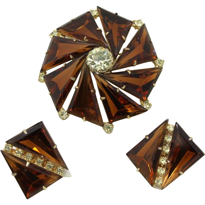 Topaz Kite Stone Brooch and Clip Earrings
