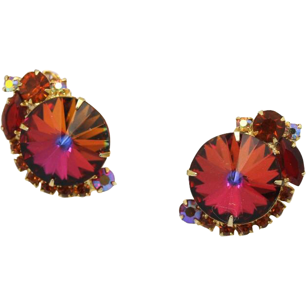 Juliana DeLizza & Elster Volcano Rivoli Clip Earrings
