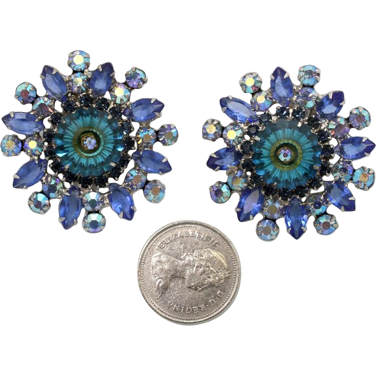 Juliana DeLizza & Elster Large Bermuda Blue Margarita Clip Earrings