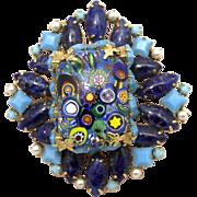 Signed Schreiner Milefiore Art Glass Brooch