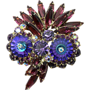 Juliana DeLizza & Elster Purple Heliotrope Margarita Owl Brooch
