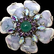 Unsigned Schreiner Marble Art Glass Brooch