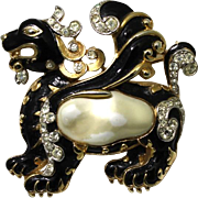 Trifari Alfred Phillipe Ming Faux Baroque Pearl Lion