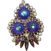 Juliana DeLizza & Elster Heliotrope Purple Margarita Brooch