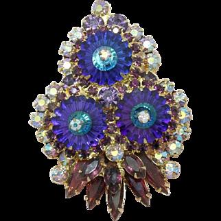 Juliana DeLizza & Elster Heliotrope Purple Margarita Brooch