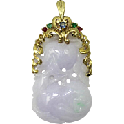 Genuine Pale Lilac Jadite 14kt Gold Enhancer with Gemstones Emeralds Rubies, and Sapphire