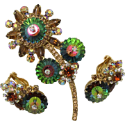 Juliana DeLizza & Elster Margarita Daisy Brooch and Earring Set