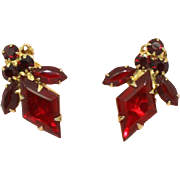 Juliana DeLizza & Elster Diamond Shape Ruby Red Clip Earrings