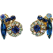 Juliana DeLizza & Elster Capri Blue and Aurora Borealis Clip Earrings