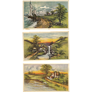 Lot of 3 Artist Signed Kathryn Elliott Vintage Postcards Scenic views
