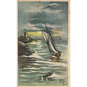 Artist Signed Kathryn Elliott postcard featuring sailboats and a lighthouse