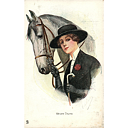 "Artist Signed Raphael Tuck ""We are Chums"" vintage postcard Woman and her horse Chums Series"