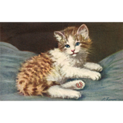 Artist Signed A. Lampe kitten #169 Cat Switzerland Vintage postcard