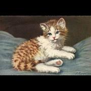 Artist Signed A. Lampe kitten #169 Cat Switzerland Vintage postcard