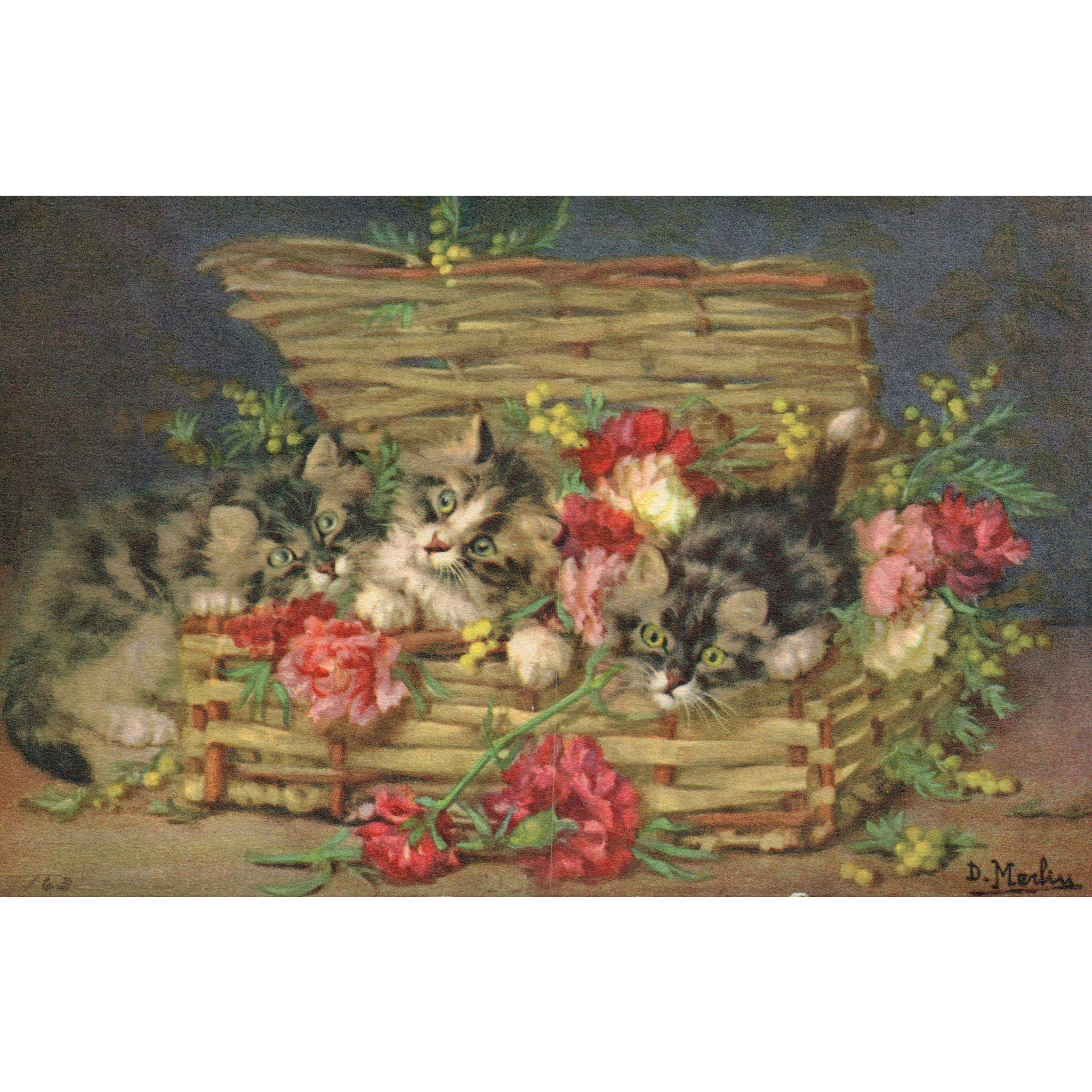 Artist Signed D Merlin Kittens in a basket with pink and red carnations  Number 163