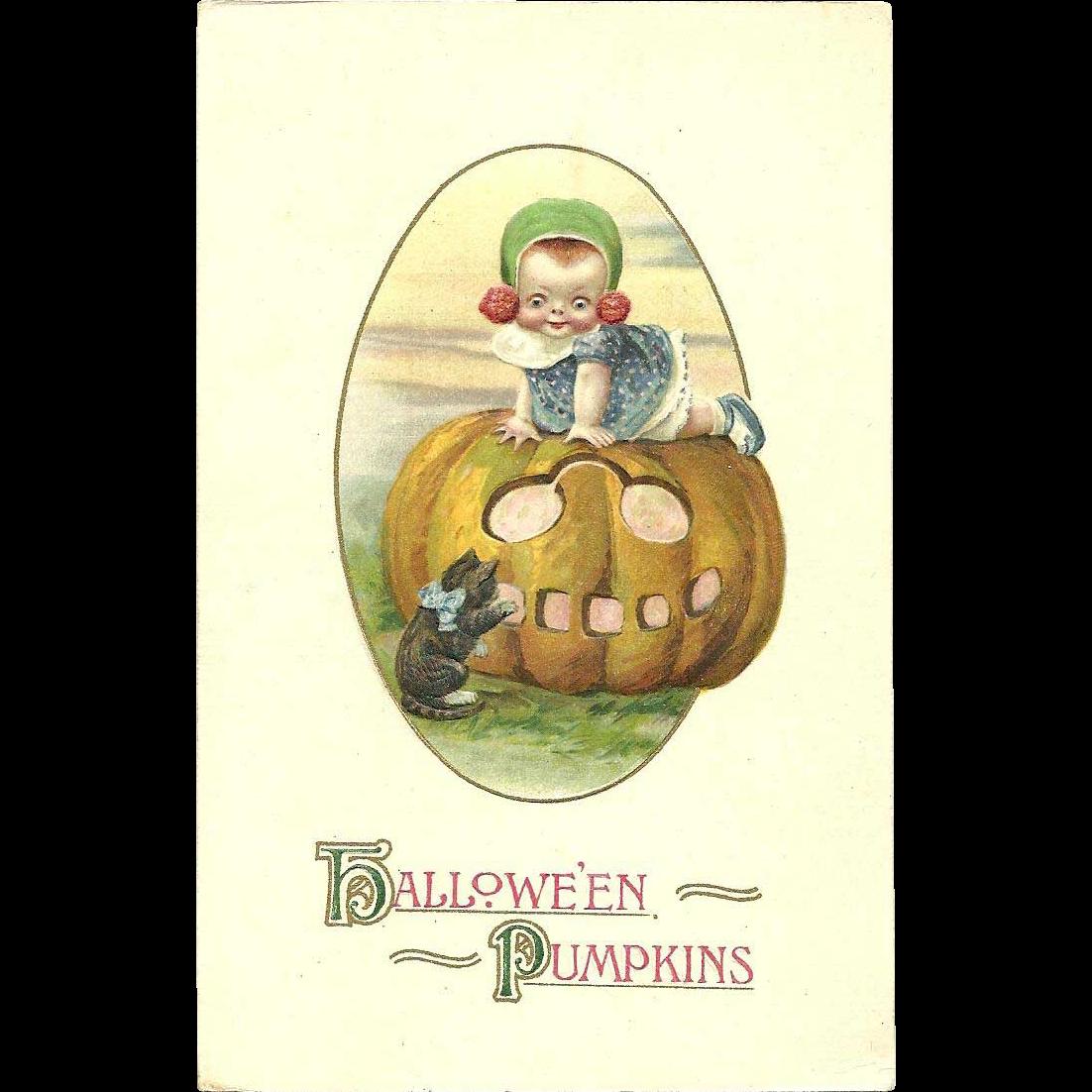 Scarce Winsch Schmucker Halloween Vintage Postcard