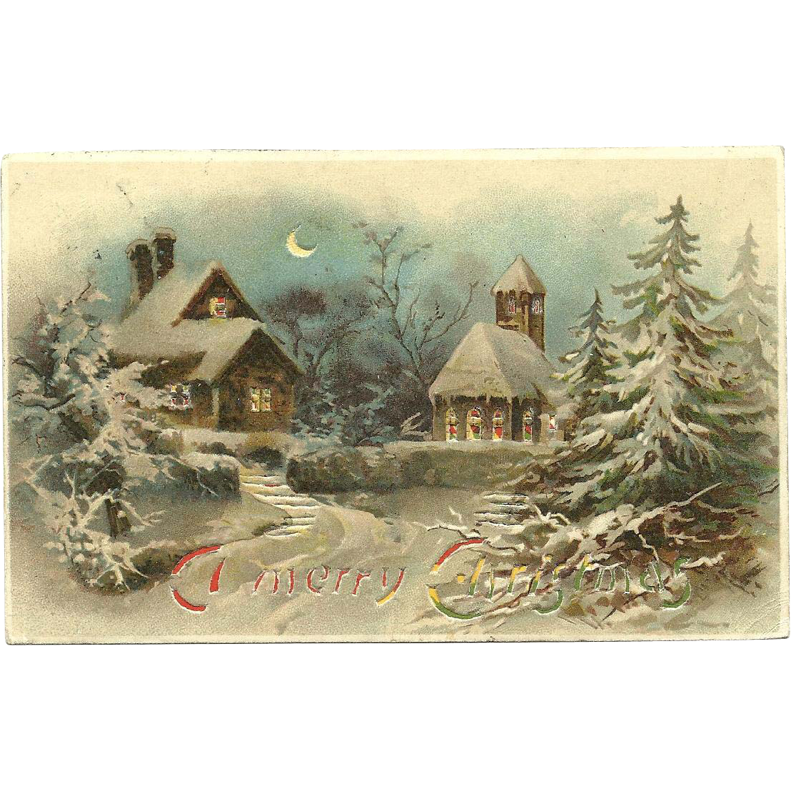 Collectible Hold To The Light Christmas Vintage Postcard HTL