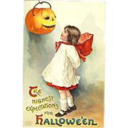 Ellen Clapsaddle vintage Halloween Postcard Series 1237 Girl with her pumpkin